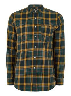 Topman: Yellow And Navy Checked Long Sleeve Shirt