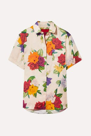 Commission - Banker Floral-print Satin-twill Shirt