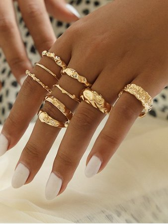 [43% OFF] [HOT] 2020 9 Piece Simple Style Crinkle Metal Finger Rings Set In GOLD | ZAFUL