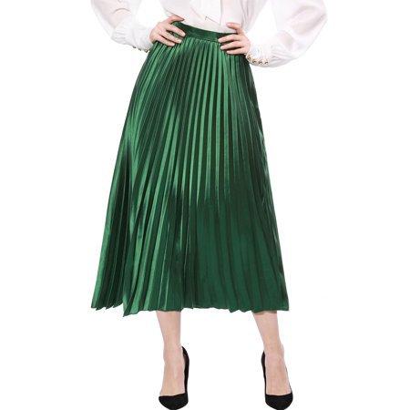 Unique Bargains Women's Zipped Accordion Pleated Metallic Midi Party Skirt - Walmart.com