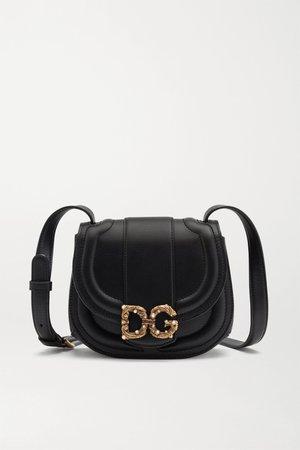 Black DG Amore embellished leather shoulder bag | Dolce & Gabbana | NET-A-PORTER