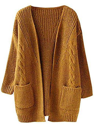 Futurino Women's Cable Twist School Wear Boyfriend Pocket Open Front Cardigan (One Size, Brown) at Amazon Women's Clothing store: