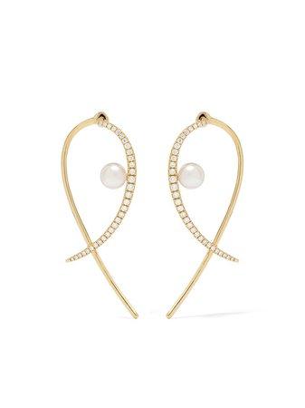 Yoko London 18kt Yellow Gold Sleek Akoya Pearl And Diamond Earrings - Farfetch