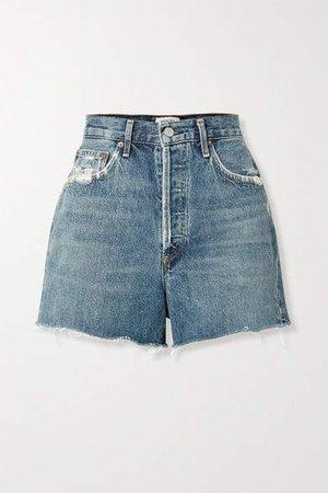 Agolde AGOLDE - Dee Distressed Denim Shorts - Blue
