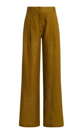 The Rivello Pleated Linen Wide-Leg Trousers By Asceno | Moda Operandi