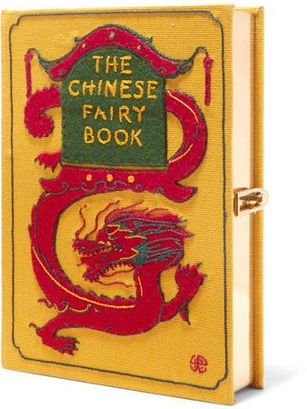 Wendy Yu The Chinese Fairy Book Appliquéd Embroidered Canvas Clutch - Gold
