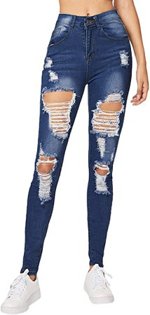 Milumia Women's Mid Waist Skinny Ripped Casual Denim Jeans Pants Dark Blue Large at Amazon Women's Jeans store