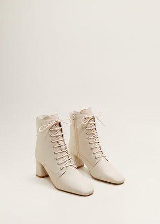 Lace-up leather boots - Women | Mango United Kingdom