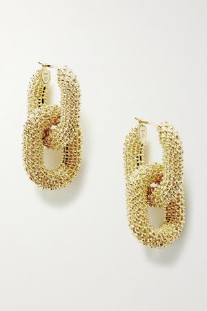 Gold Textured gold-tone earrings | Bottega Veneta | NET-A-PORTER
