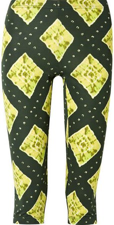 Cropped Printed Stretch-jersey Leggings - Green
