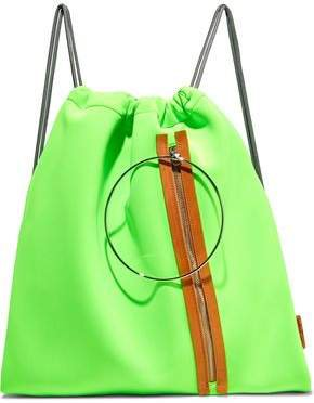 Faux Leather-trimmed Neon Neoprene Backpack
