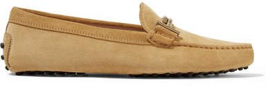 Gommino Embellished Suede Loafers - Beige