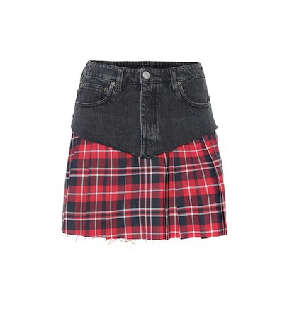 Denim and plaid miniskirt