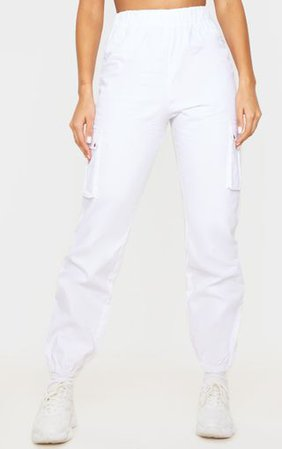 White Pocket Detail Cargo Trousers   PrettyLittleThing