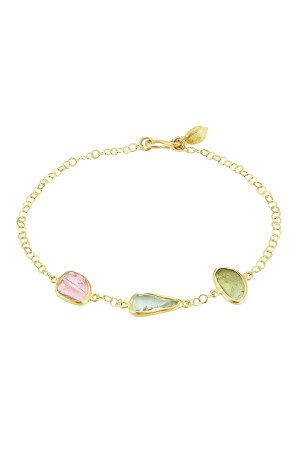 18kt Gold Bracelet with Tourmaline Stones Gr. One Size