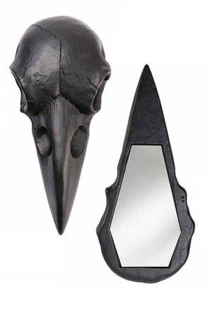 Raven Skull Black Hand Mirror by Alchemy Gothic   Gothic