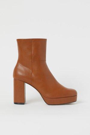Platform Ankle Boots - Orange