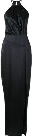 Pleat Halter silk gown
