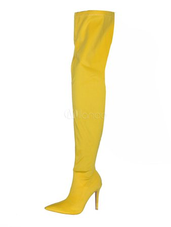 Women Stretch Boots High Heel Over Knee Boots Yellow Pointed Toe Thigh High Boots - Milanoo.com