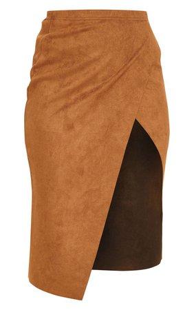 Dark Camel Faux Suede Extreme Split Wrap Midi Skirt   PrettyLittleThing USA