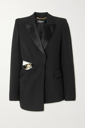 Embellished Cutout Silk Satin-trimmed Cady Blazer - Black