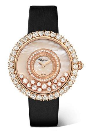 Chopard | Montre en or rose 18 carats, diamants et nacre à bracelet en satin Happy Dreams 36 mm | NET-A-PORTER.COM