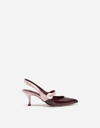 Patent Leather Two-Tone Slingbacks With Pearl Detail