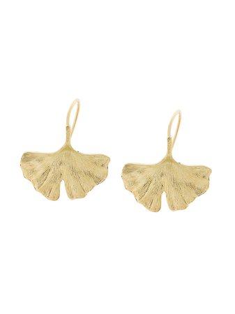 Aurelie Bidermann 18kt Yellow Gold Ginkgo Earrings - Farfetch