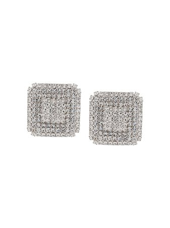 Alessandra Rich square-crystal clip-on Earrings - Farfetch