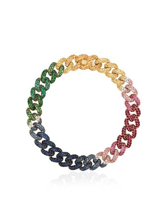 SHAY 18kt Yellow Gold Rainbow Gemstone Chain Bracelet - Farfetch