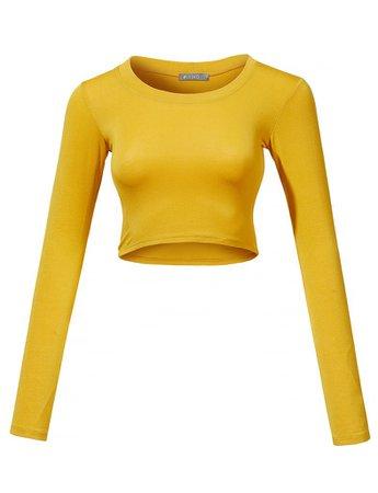 Lightweight Long Sleeve Scoop Neck Crop Top | LE3NO