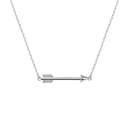 Amazon.com: S925 Sterling Silver Classic Love Polished Sideways Arrow Necklace: Jewelry