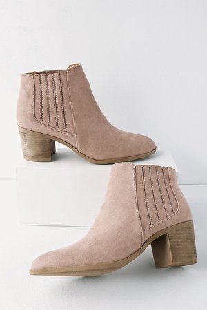 Chic Taupe Boots - Vegan Suede Booties - Ankle Booties - Booties - Lulus