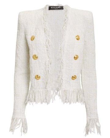 White Tweed Fringe Jacket