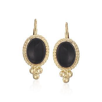 Ross-Simons - Black Onyx Rope Edge Earrings in 14kt Yellow Gold - #017521