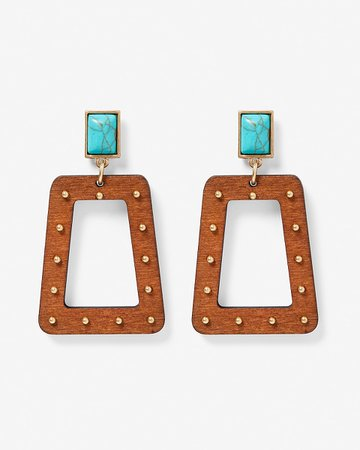 Turquoise Post Wood Trapezoid Drop Earrings | Express