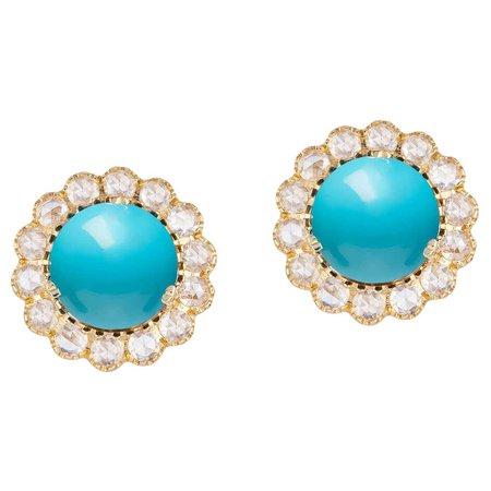 Goshwara Cabochon Turquoise And Rose Cut Diamond Earrings