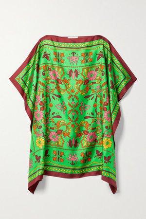 Printed Silk-twill Kaftan - Green