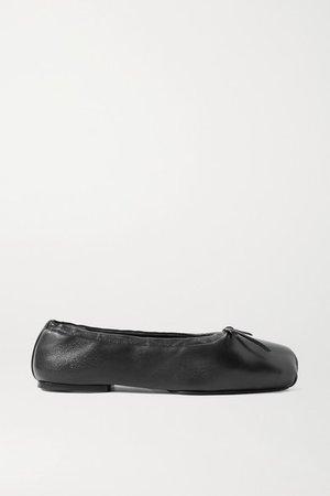 Ashland Bow-embellished Leather Ballet Flats - Black