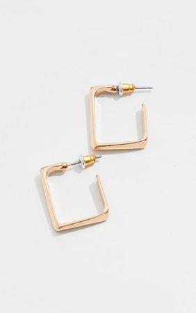 Gold Mini Chunky Square Hoop Earrings | PrettyLittleThing USA