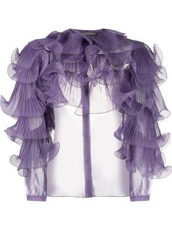 Shop purple Alberta Ferretti ruffle trimmed blouse with Express Delivery - Farfetch
