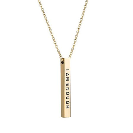 Amazon.com: Forevereally 4 Sided Vertical Bar Necklace Inspirational Necklace I am Enough Simple Pretty Necklace Cute Stainless Steel Pendant Graduation Necklace Gift: Jewelry