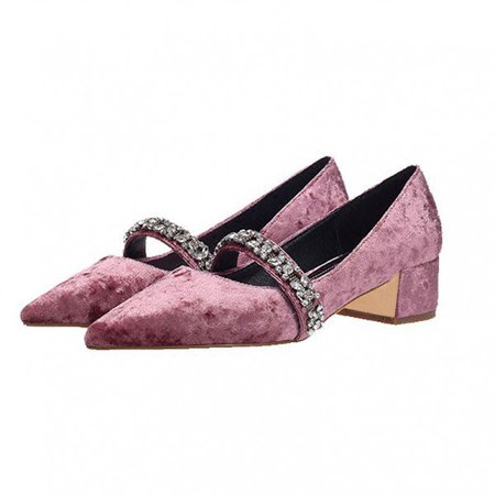 Pink Velvet Heels Vintage Mary Jane Pumps with Rhinestones for Work, School, Date, Going out   FSJ