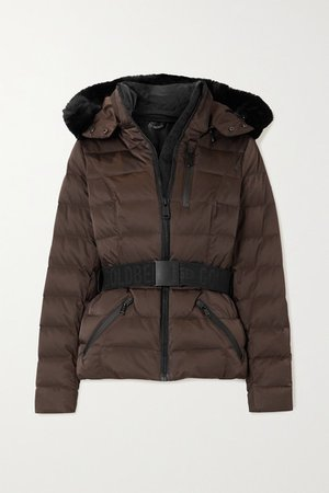 Soldis Hooded Belted Faux Fur-trimmed Quilted Down Ski Jacket - Brown