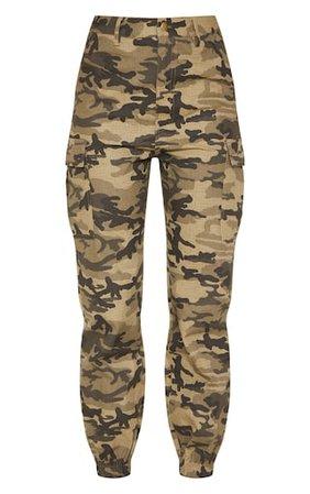Khaki Camo Pocket Detail Cargo Pants | PrettyLittleThing USA