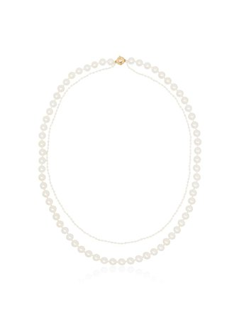 Sophie Bille Brahe 14Kt Gold Layered Pearl Necklace Continuity | Farfetch.com