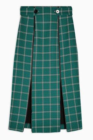 Green Check Split Trim Midi Skirt | Topshop