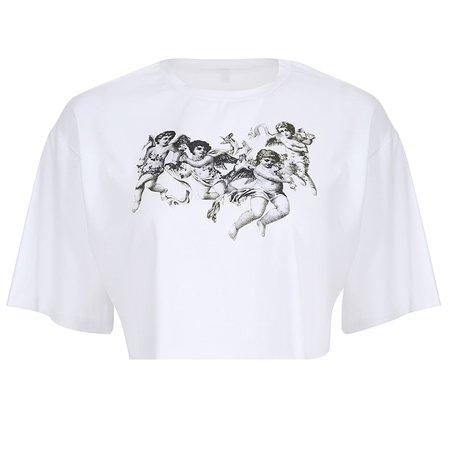 Harajuku Angel Print White Cropped t shirt Women Short Sleeve Loose Tops Summer Streetwear Korean Basic Crop Top tee shirt femme-in T-Shirts from Women's Clothing on Aliexpress.com | Alibaba Group
