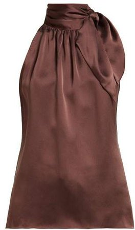 Tie Neck Satin Tank Top - Womens - Brown