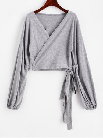 [26% OFF] 2020 Heathered Crop V Neck Wrap Tee In GRAY   ZAFUL grey